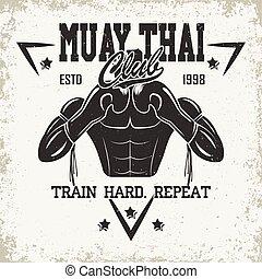 vintage emblem design - Vintage emblem of Muay Thai club,...