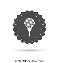 Golf ball on tee sign icon. Sport symbol.