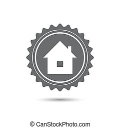 Vintage emblem medal. home icon, Classic flat icon. Vector