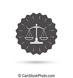 Scales of Justice sign icon. Court of law symbol - Vintage...