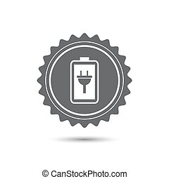 Vintage emblem medal. Simple battery icon. Battery charge icon. Classic flat icon. Vector