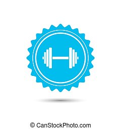 Vintage emblem medal. Sports gym equipment. Dumbbell. Classic flat icon. Vector