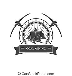 Vintage emblem of the mining industry, coal mine trolley...