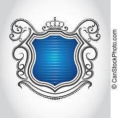 Vintage emblem with crown