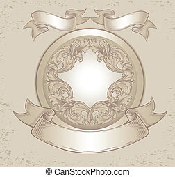 vintage emblem with floral patterns