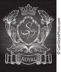 Vintage emblem with ribbon and crow