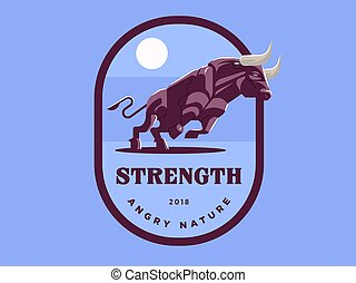 Vintage emblem with strong muscular bull illustration.