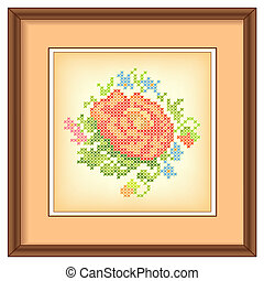 Vintage Embroidery, Rose, Frame
