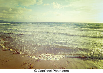 vintage empty beach