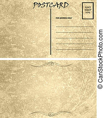 Vintage Empty Blank Postcard Template Front And Back