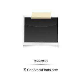 Vintage Empty Photo frame. Vector illustration on white.