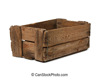 Vintage empty wooden crate isolated on white, all box in ...