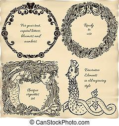 Vintage engraved frame vignette set - collection of 4 retro...
