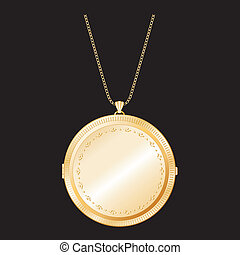 Vintage Engraved Gold Locket, Chain
