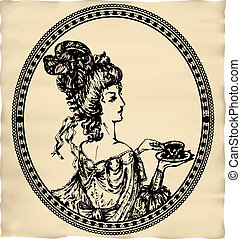 Vintage engraved lady with cup of tea or coffee