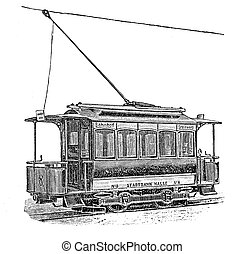 Vintage engraving, electric tramway