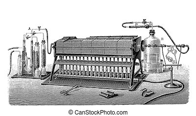 Vintage engraving, lab equipment for nitrogen production
