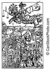 Vintage engraving, medieval lifestyle