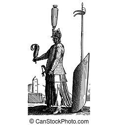 Vintage engraving of a medieval soldier