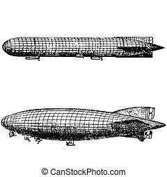 Vintage engraving of an airship, dirigible aircraft - ...