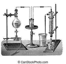 Vintage engraving, sulfur dioxide production: 2...