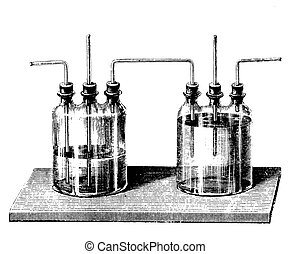 Vintage engraving, Woulff bottles to channel gases through liquids