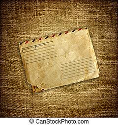 vintage envelop on brown canvas