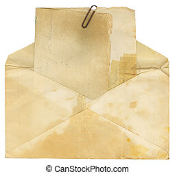 Vintage Envelope and Paper - Stained vintage letter and...
