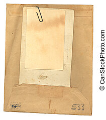 Vintage Envelope and Papers - Vintage stained, used, manila...
