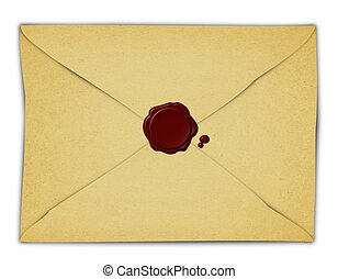 Vintage Envelope and Red Wax Seal - Illustration of a...