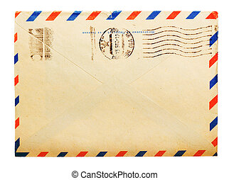 vintage envelope back side with russian meter stamps...