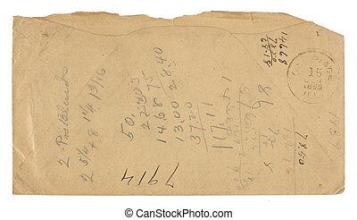 Vintage Envelope Back used for Math - The back of a brown...