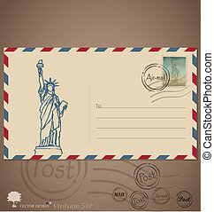 Vintage envelope designs with postage stamp. Vector...