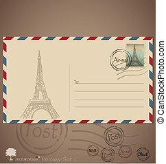 Vintage envelope designs with postage stamp. Vector ...