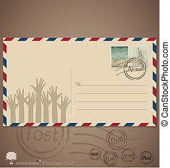 Vintage envelope designs with postage stamps. Vector illustration.