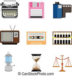 Vintage equipment icon set
