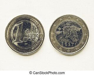 Vintage Estonian 1 Euro coin