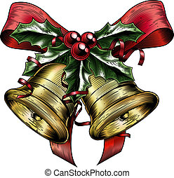 Vintage Etching Christmas Holly Bow