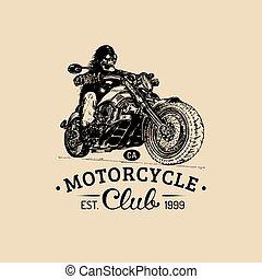 Vintage eternal biker illustration for custom, chopper...