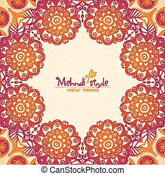 Vintage ethnic square floral frame in Indian mehndi style