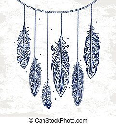 Vintage ethnic tribal feather seamless. Bohemian style.