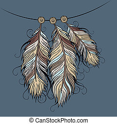 Vintage ethnic vector Feathers - Vintage abstract decorative...