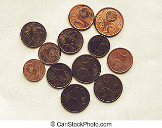 Vintage Euro coins 1 and 2 cents