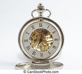 isolated vintage pocket watch with exposed gears, see through body and spring powered