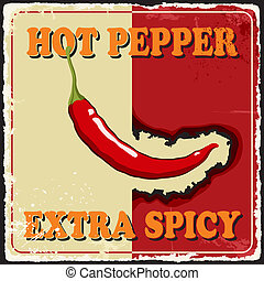 Vintage extra spicy poster with chili pepper. Vector illustration.