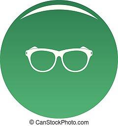 Vintage eyeglasses icon vector green