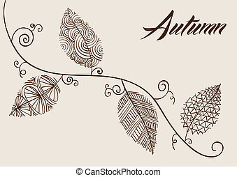 Vintage fall season composition. Hand drawn curl tree branches and leaves background. EPS10 Vector file in layers for easy editing.