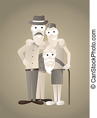 Vintage family picture of three generations