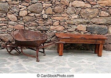 Vintage farm equipment in Spain