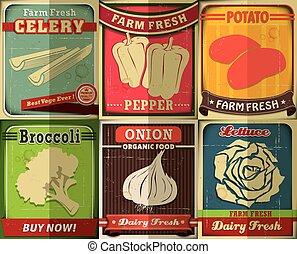 Vintage Farm fresh set poster desig